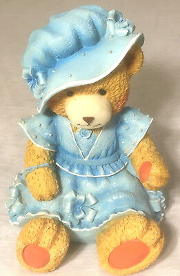 Little Girl Teddy Bear in Blue Dress & Hat Plastic Coin Piggy Bank 8""