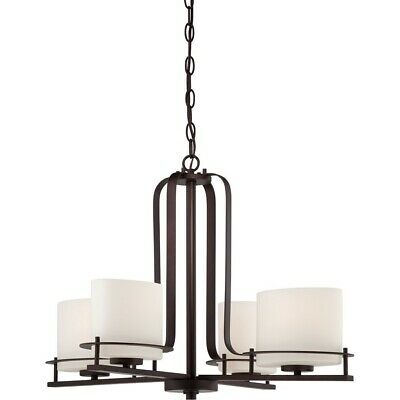 Nuvo Loren 4 Light Chandelier w/ Oval Frosted Glass, Venetian Bronze - 60-5004