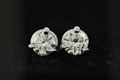 14k or Blanc .76ct Diamant Rond 3-Prong Martini Ensemble Boucles D'Oreilles (