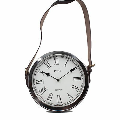 Faux Leather Belt Strap Hanging Wall Clock W33cm Chromed Metal Adjustable Height