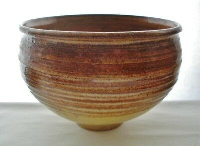 MIND BENDING Signed ART POTTERY Footed BOWL Earthy GLAZES Hand Thrown GORGEOUS