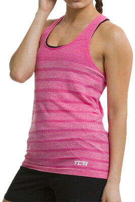 TCA Womens Quick Dry Super Knit Seamless Ventilated Running Vest Tank Top Pink
