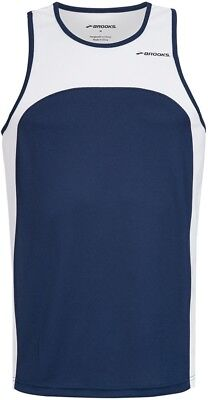 Brooks Sprint Running Singlet Navy Mens Vest Gym Training Workout Tank Top