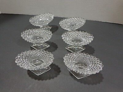 Vintage Set of 6 Clear Footed Hobnail Open Salt Cellars Westmoreland