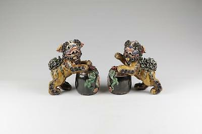 Fine Pair Of Modern Chinese Shiwan 21st Century Foo Dogs With Drum.
