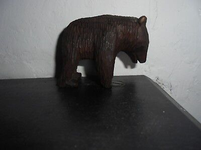 Vintage Black Forest Hand Wood Carving Bear ON ALL FOURS