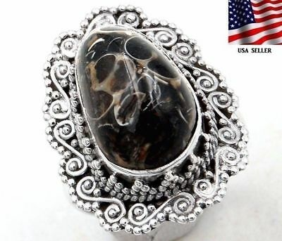 Turritella Agate 925 Sterling Silver Detailed Design Ring Jewelry Sz 8, S1-1