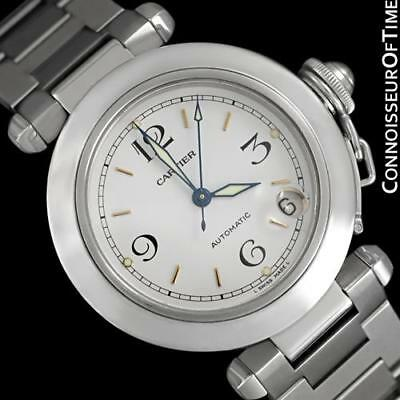 CARTIER PASHA C 35MM Mens SS Steel Watch, W31015M7 - Mint with Papers & Warranty