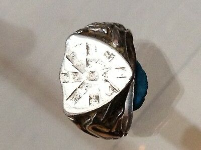 Silver Old Shield Ring With Unicorn And Lion Fabulous (V)
