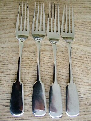 Set 4 Antique Russian Solid Silver Dinner Forks Maker Maa 84 Imperial 177G Nr