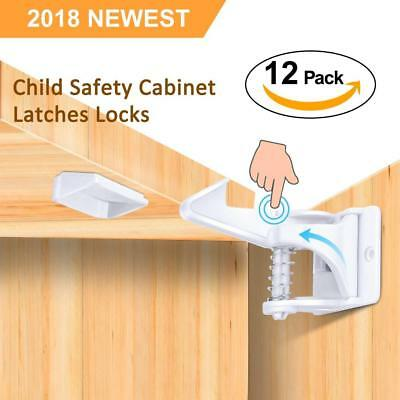 Child Safety Cabinet Locks, Baby Cupboard Locks 12 Pack Home Latches,...