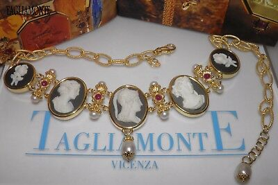 TAGLIAMONTE(742)*4 Column Necklace*YGP925*5 Porcelain Cameos*Rubies+Pearls+MOP