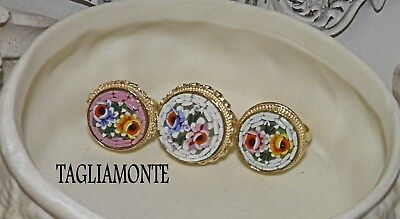 TAGLIAMONTE(844/855)Ring*YGP925*Round Floral Micro-Mosaic*Your Choice of 1*