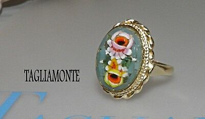 TAGLIAMONTE(837)Ring*SZ 7.50*YGP/925*Blue-Green Oval Floral Micro-Mosaic*Lovely