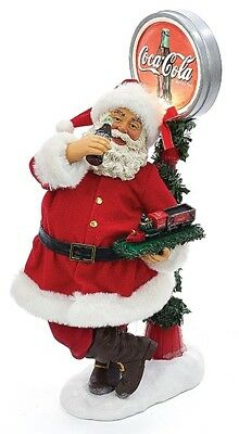 Coca Cola Santa Standing by LED Light Up Coke Sign Fabriche Christmas Figurine