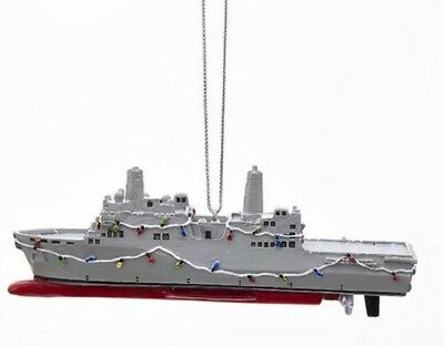 United States Navy Ship Decorated with Christmas Lights Ornament Military USN
