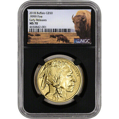2018 American Gold Buffalo (1 oz) $50 NGC MS70 Early Releases Bison Label Black