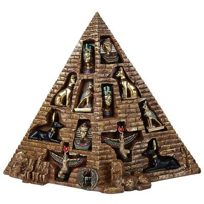 Ancient Egyptian Pyramid with Mini Egypt Figurines 12 Piece Set King Tut Anubis