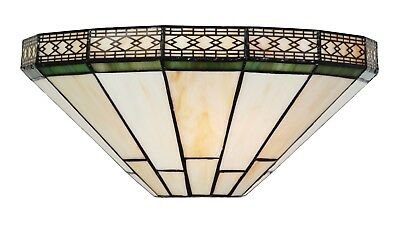 MISSION TIFFANY STYLE UNIQUE STAINED GLASS WALL LAMP UPLIGHTER - 33cm WIDE