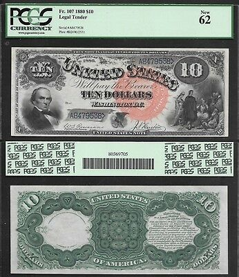 """$10 1880 United States Note """"jackass"""" Fr#107 Large Red Spiked Seal Pcgs Ch/cu62"""
