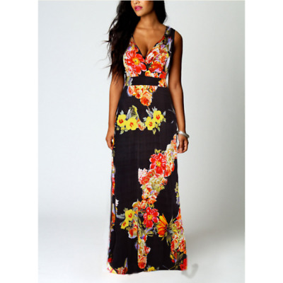 Womens Holiday Strappy V Neck Bodycon Ladies Floral Summer Beach Midi Dress UK