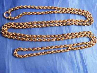Stunning Antique Rolled Gold Longuard Muff Chain 42 Inches