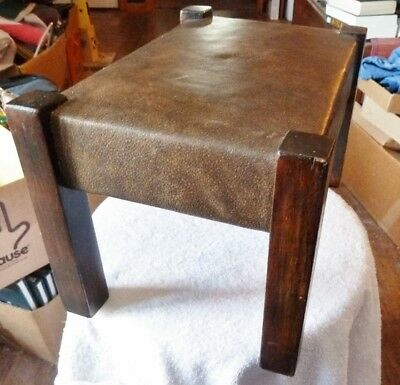 Arts & Crafts, Mission Stickley Style Small Foot Stool, Footstool, Leather Top