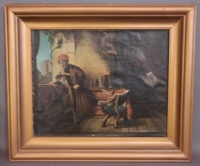 Vintage RENAISSANCE INTERIOR SCENE Old MAN & BOOK Portrait MASTERS Oil PAINTING
