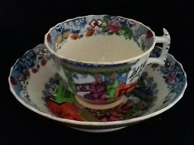 antique Miles Mason London Shape Chinoiserie Enameled  Cup & Saucer  1800-15