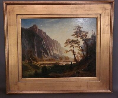 Vintage RIVER VALLEY Old CANYON Stream LUMINIST Style LANDSCAPE Oil PAINTING