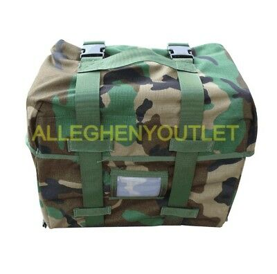 USGI Military MOLLE Rucksack Sleep System Carrier Pouch Woodland Camo EXC