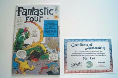 Fantastic Four #1 German Euro Variant Signed Stan Lee With Coa Gold Stamp