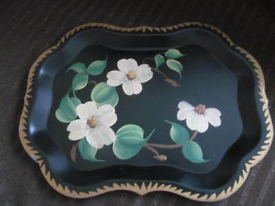 Unused~Dogwood Flowers Small Vintage Hand Painted Tole Toleware Metal Tray 9 x 7