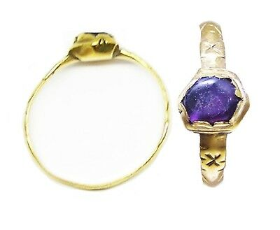 14th century A.D. Medieval Gold & Amethyst Episcopal Finger Ring Wearable Size 8