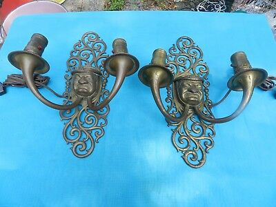 Unique Pair of 18C Antique Wall Sconces - Bronze Monk on Brass Scrolled Base
