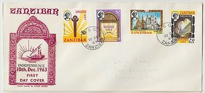 ZANZIBAR 1963 *INDEPENDENCE* set of 4 on official illustrated registered FDC