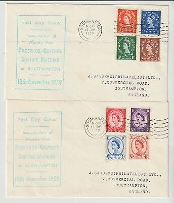 GB STAMPS FIRST DAY COVER 1959 PHOSPHOR GRAPHITE WILDINGS PAIR c£100