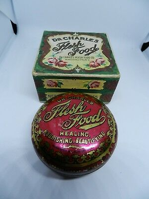 1900's Dr. Charles Flesh Food Tin and Original Box Not Used Beauty Bust Cream