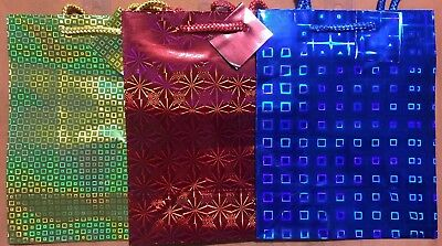 """3x Medium Size Birthday Party Holiday Christmas Gift Event Bags Gloss 7/""""X9.5/""""X4"""""""