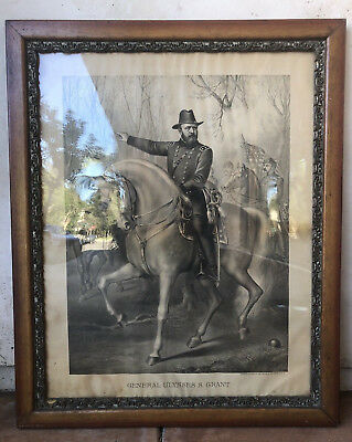 ANTIQUE ULYSSES S GRANT LITHOGRAPH Kurz & Allisons Chicago FRAMED Civil War Art