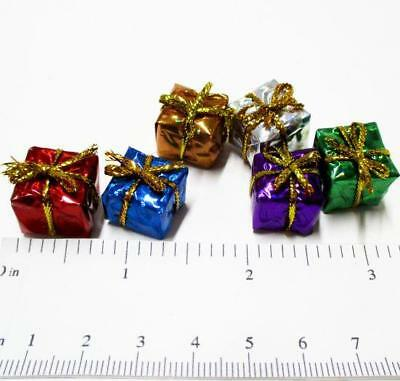 1/2 in. Set 6 Foil Wrapped Christmas Present Gift Dollhouse Miniatures by Beth