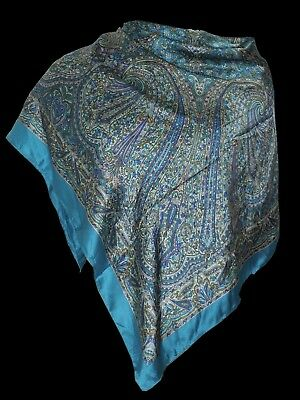 """100% Silk Scarf- Soft, Luxurious Paisley Print made in India- Large 41"""" X 41"""""""
