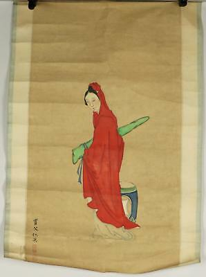 Antique 19thC/20thC Chinese Qing Lady In Red Painting On Paper Scroll Signed