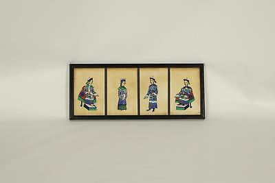 Antique 19thC Chinese Style Of Tingqua / Sunqua Figures Pith paintings Framed