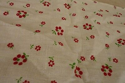 Vintage Cotton Flocked Red Floral On Cream Fabric