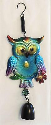 Blue Aluminum Owl Windchime with Bell