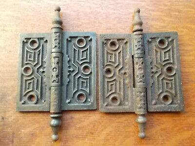 "Two Antique Fancy Victorian Iron Door Hinges 4"" X 4""  c1885"