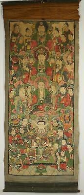 Antique 19thC Tibetan Thangka Painting Four Bodhisattva's And Their Followers