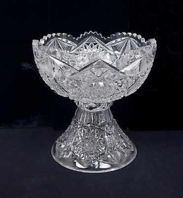 Antique 19c American Brilliant Period Cut Glass Punch Bowl & Pedestal