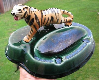 vintage TIGER Figural Ceramic Ashtray Oil Spot? Glaze Pottery nice rare beauty